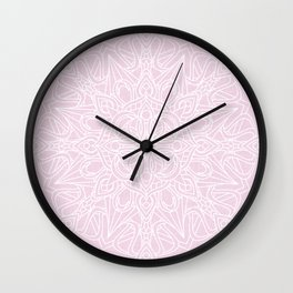 White Mandala on Pastel Pink Linen Textured Background Wall Clock