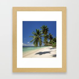 Palm beach, the Seychelles, La Digue island, Framed Art Print