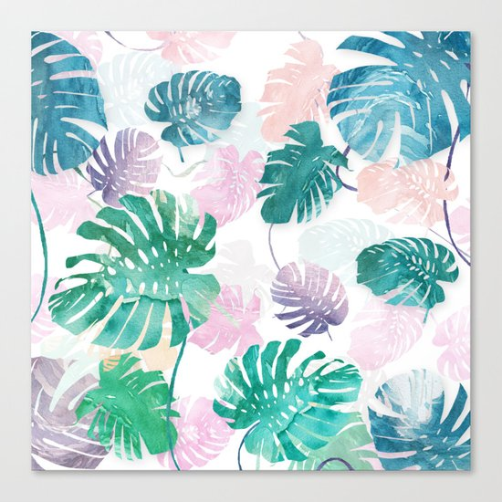 Tropical Leaves Watercolor Canvas Print