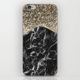 Shimmering golden chevron black marble iPhone Skin
