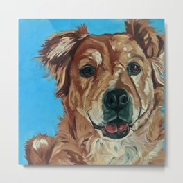Cody the Golden Labrador Mix Dog Portrait Metal Print