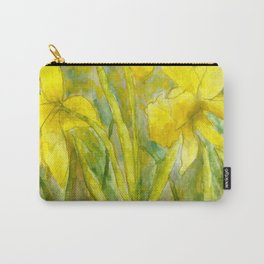 Rise and Shine, Watercolor Daffodils Painting Carry-All Pouch