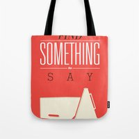 literary Tote Bags featuring Literary Quote Poster — Title Poster by Evan Beltran
