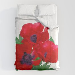 Red oriental poppies Comforters