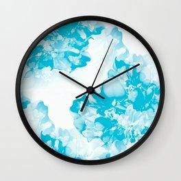 Beautiful Peony Flowers White Background Turquoise Blue Version #society6 #decor #buyart Wall Clock