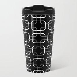Black White and Gray Octagonal interlocking shapes Travel Mug