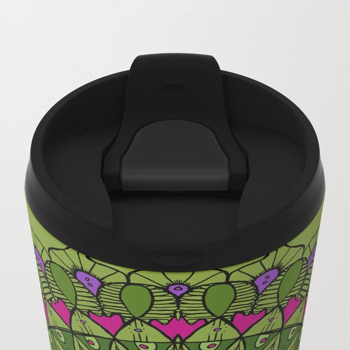 Bohemian Mandala in Green with Pink and Purple Metal Travel Mug
