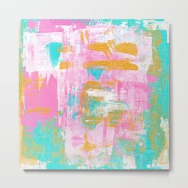 Abstract Acrylic - Turquoise, Pink & Gold Metal Print