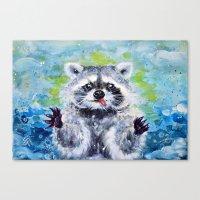 raccoon Canvas Prints featuring Raccoon by Alina Rubanenko