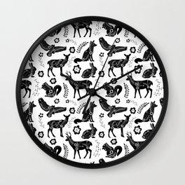 Folk Art Forest Animals Wall Clock