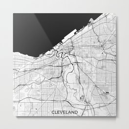 Cleveland Map Gray Metal Print
