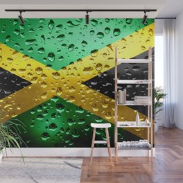 Flag of Jamaica - Raindrops Wall Mural