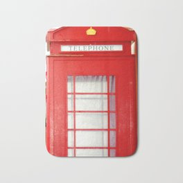 Red telephone booth. Bath Mat