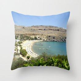 Rhodes, Greece Beach  Throw Pillow