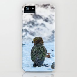 Kea parrot bird in the snow mountains of New Zealand iPhone Case