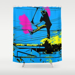 Tailgating - Stunt Scooter Tricks Shower Curtain