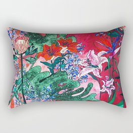 Ruby Red Floral Jungle Rectangular Pillow