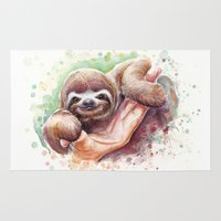 sloth Area & Throw Rugs featuring Sloth by Olechka