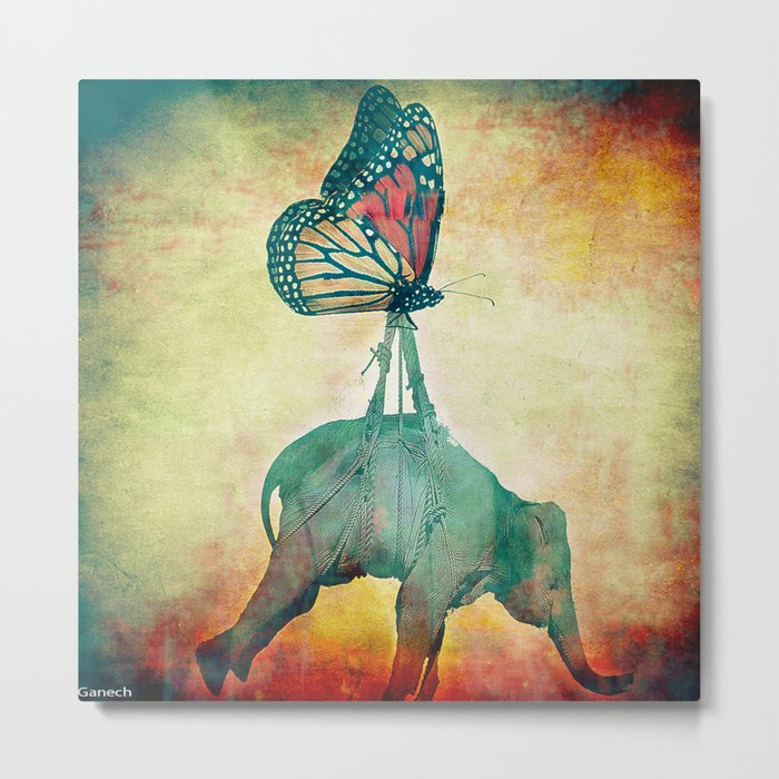 The elephant and the butterfly Metal Print