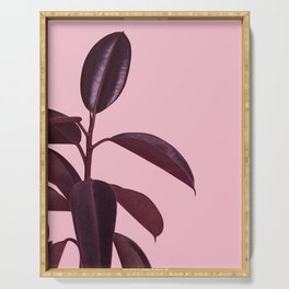 Burgundy Rubber Plant Serving Tray