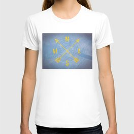 Compass Tree Gold on Blue T-shirt