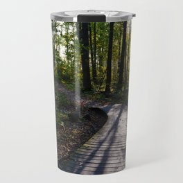 Boardwalk through the forest in southern Ontario Travel Mug