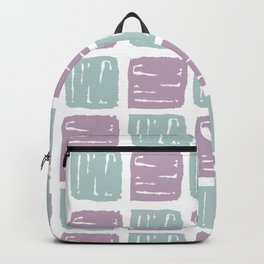 Watercolor lilac green abstract geometrical squares pattern Backpack