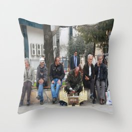 Man Polishing Leather Shoes Shoeshine On Street Mugla Turkey Throw Pillow
