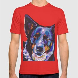 Australian Cattle Dog Portrait blue heeler colorful Pop Art Painting by LEA T-shirt