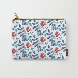 Watercolor Rose Hips Carry-All Pouch
