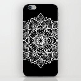 White Mandala On Black iPhone Skin