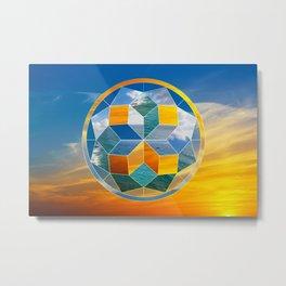 Sacred geometry sunset Metal Print