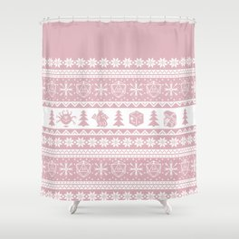 """Roll for Initiative Fair Isle in """"Frosting"""" Shower Curtain"""