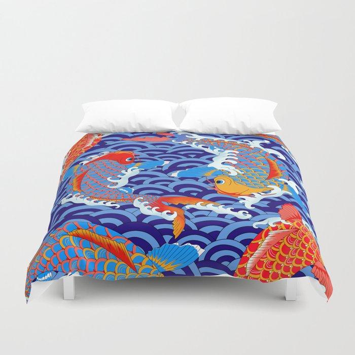 Koi fish / japanese tattoo style pattern Duvet Cover