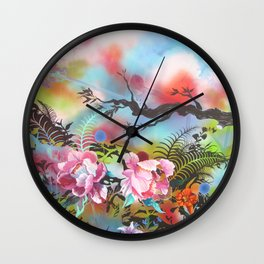 Pink Peonies Street Style Wall Clock