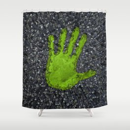 Carbon handprint / 3D render of modern city with handprint shaped park Shower Curtain