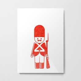 English toy soldier with shotgun, drawing with letterpress effect. Metal Print