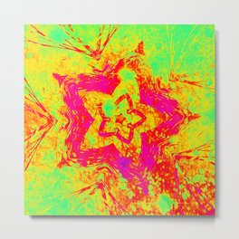 Atomic Neon Star Metal Print