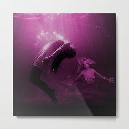 Mermaid Saves Drowning Victim in Fuchsia Pink Underwater Scene Metal Print