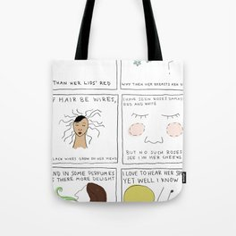My mistress' eyes are nothing like the sun comic Tote Bag