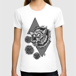 Wolf's Head and Flowers T-shirt