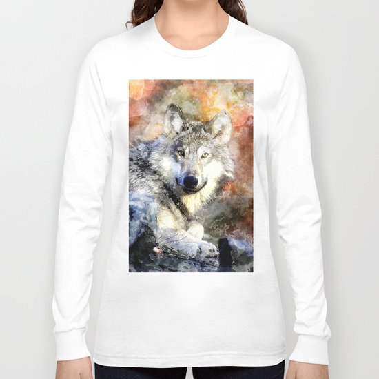 Wolf Animal Wild Nature-watercolor Illustration Long Sleeve T-shirt