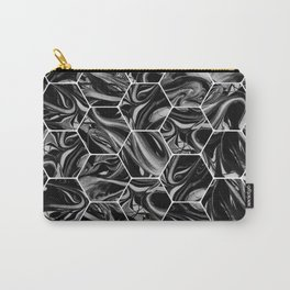 Hex & Swirl - Black and White Marble Pattern Carry-All Pouch