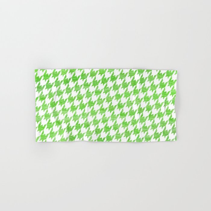 Green Houndstooth Pattern Hand & Bath Towel