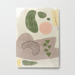 Vegetable Party - Muted Abstract Shapes and Lines Metal Print