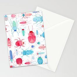 Watercolor Beetles Stationery Cards