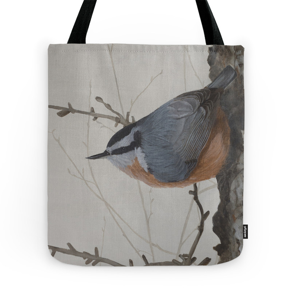 Red-Breasted Nuthatch At Yellowknife River Tote Bag by shawnalampilegaree (TBG11900146) photo