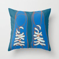 sneakers Throw Pillows featuring Sneakers by Sam Ayres