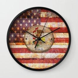 Usa and Illinois flags. Wall Clock