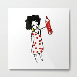 Femme à pois Metal Print